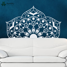 YOYOYU Wall Decal Half Mandala Flower Stickers Master Bedroom Headboard Vinyl Home Decor Livingroom Sofa Decals SY624