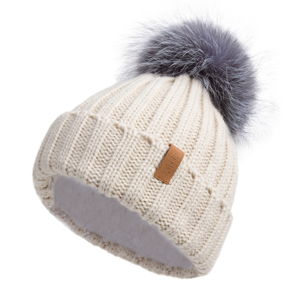 Pilipala Real Fur Pom pom Hat knitted Hat Skullies Winter