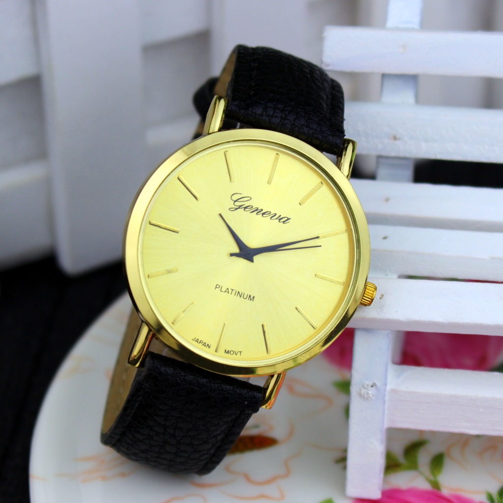 Buy hot sale geneva gold japan movt leather quartz wristwatches wrist watch for for Celebrity quartz watch japan movt