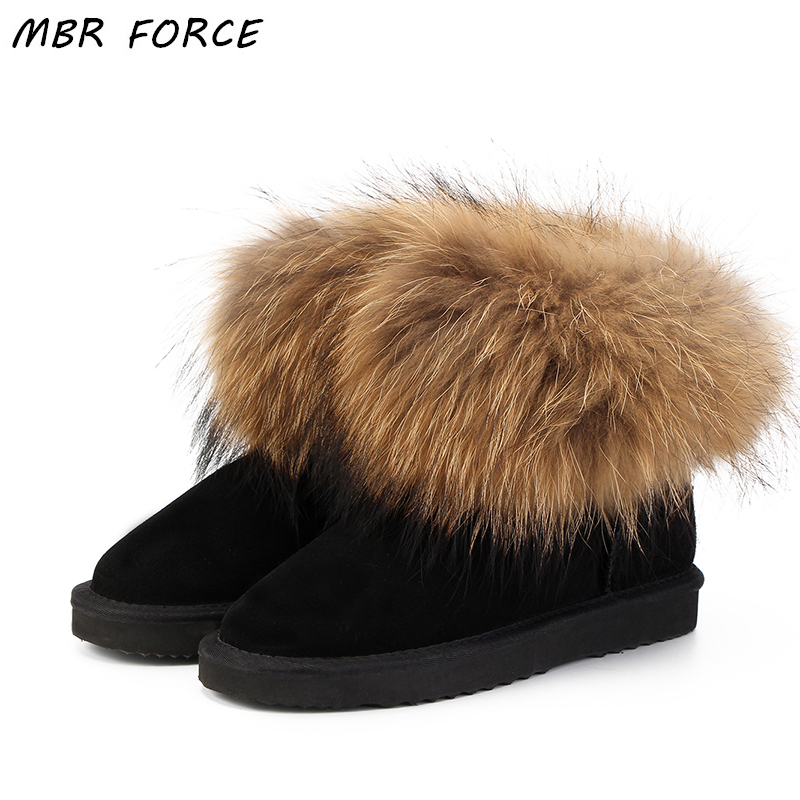 MBR FORCE Top Cow suede leather 100% Natural fox fur women short winter  ankle snow 5eb11e81cfad