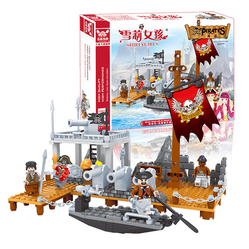 Toys for kids gift!238pcs Pirates and ships Building Blocks Enlighten Child educational toys Compatible famous brand brinquedos