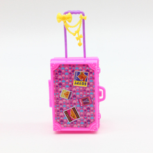 Kids Toy Plastic 3D Cute Travel Suitcase Luggage Case Trunk For Barbie Doll House Gift Toys