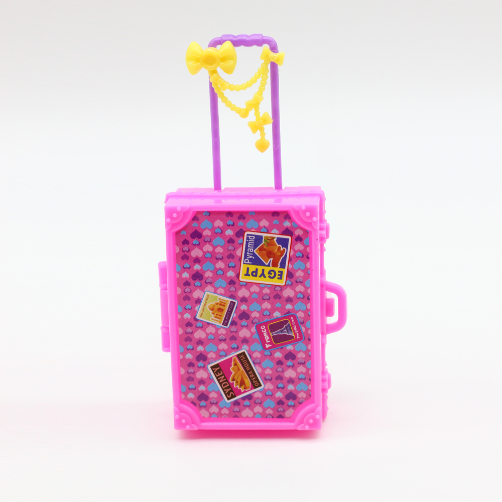 Kids Toy Plastic 3D Cute Travel Suitcase Luggage Case Trunk For Barbie Doll House Gift Toys Dollhouse Furniture es003(China)