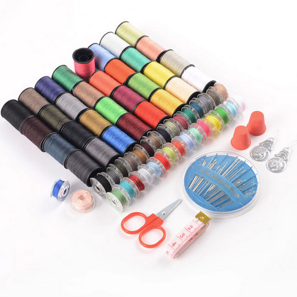 Nya Styles Specialerbjudande 64 Spools Assorted Colors Sy Trådar Needles Set Sew Tools Kit