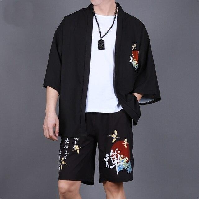 Yukata haori mężczyźni japońskie kimono sweter mężczyźni samuraj kostium odzież kimono kurtka mężczyzna kimono koszula yukata haori FF2022