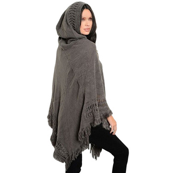New Women Ladies Tassel Cape Coat Fringe Poncho Oblique Stripe Coat Bohemian Shawl Scarf 1