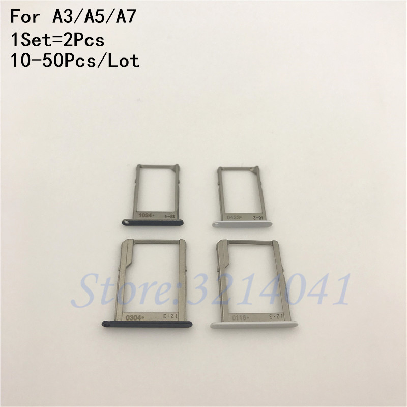 10-50Pcs/Lot original For Galaxy A3 A300 A300F A300 A5 A500 A7 A700 SIM Card Holder Tray +SD Memory Card Tray Slot