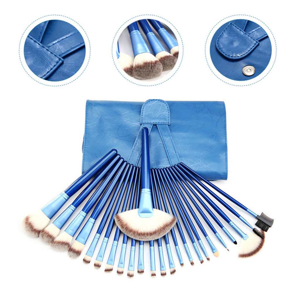 24pcs Professional High Quality Makeup Brushes Tool Soft Cosmetics Powder Eyeshadow Set with Leather Case