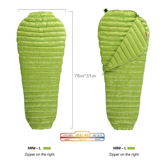 AEGISMAX Goose Down Sleeping Bag Mummy Bags Ultralight Goose Down Spring Autumn Down Sleeping Bag For Outdoor Camping Backpack