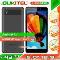 OUKITEL C10 5.0 inch 18:9 Display 3G Smartphone 1GB+8GB MTK6580 Quad Core 1.3GHz Dual SIM 2000mAh Android 8.1 Mobile Phone