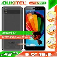 OUKITEL C10 5 18:9 عرض 3G الهاتف الذكي 1GB RAM 8GB ROM MTK6580 رباعية النواة 1.3GHz المزدوج سيم 2000mAh الروبوت 8.1 الهاتف المحمول