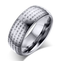 fashion pure tungsten steel men rings high quality individuality tungsten scriptures rings for man male jewelry accesories