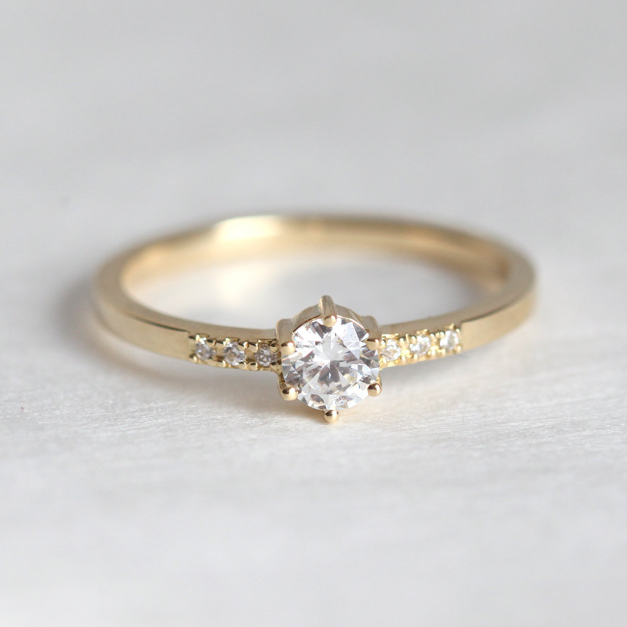 Ring For Women 0.1CTriund cut 18k solid yellow gold ...