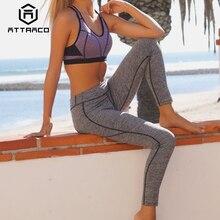 Attraco Women Yoga Pants Slim High Waist Sports Gym Fitness Elastic Trousers Running Biking Sport Wear