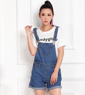 Плюс размер Бутик Летний стиль большой размер 6XL 5XL 4xL комбинезон размера XXXL джинсы для женщин синие бежевые короткие брюки - Цвет: aiku001 blue