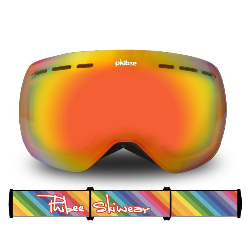 Большие двухслойные лыжные очки унисекс с сферическим покрытием, защита от ветра, защита глаз - 2