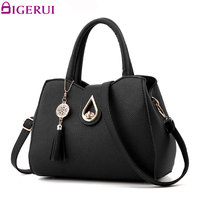 DIGERUI New Fashion Women Handbag Tassel High Quality PU Leather Totes Bags Brief Women Shoulder Bag