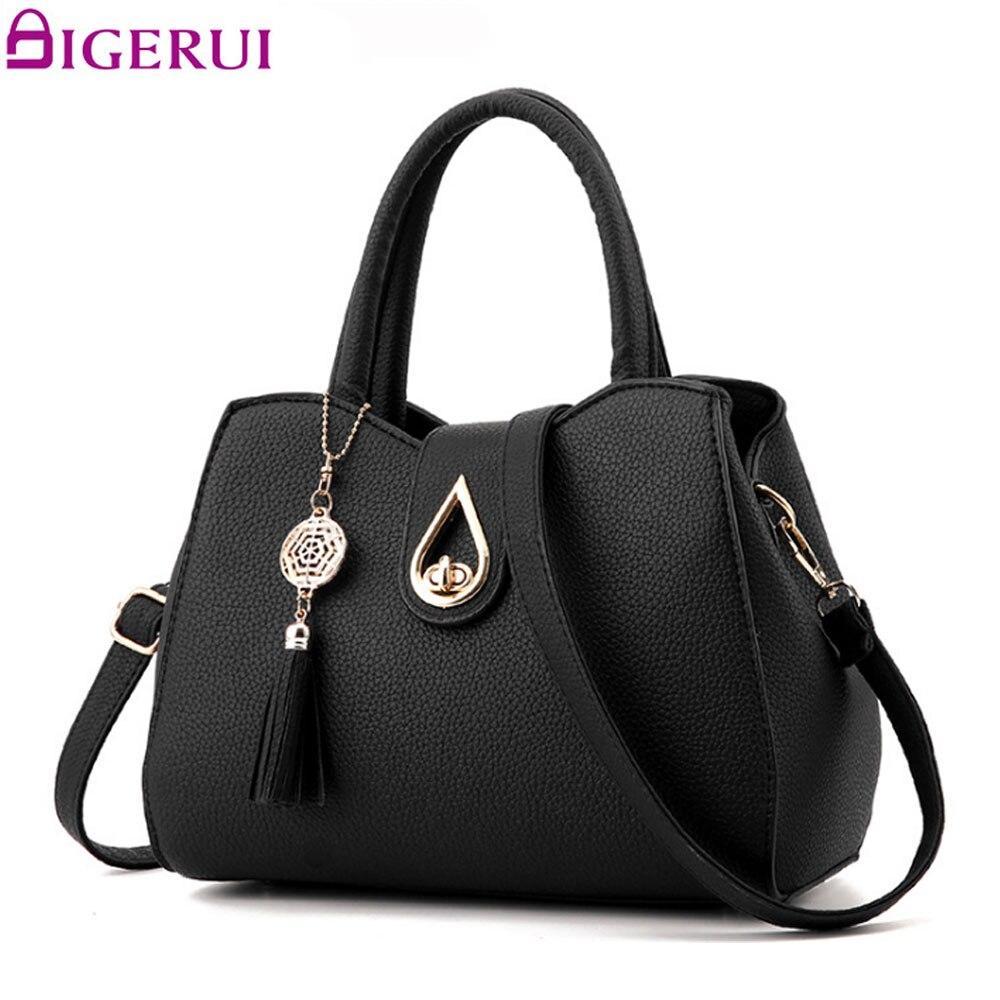 DIGERUI New Fashion Women Handbag Tassel High Quality PU Leather Totes Bags Brief Women Shoulder Bag