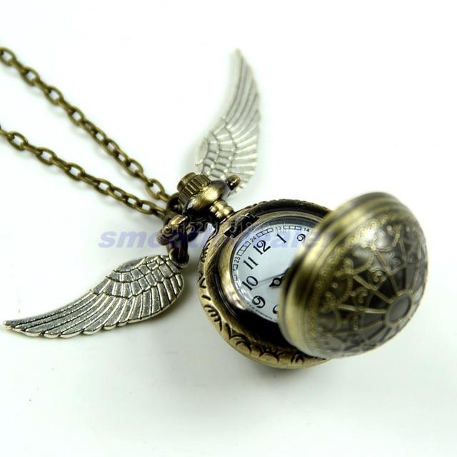 Antique Vintage Spider Web Ball Wing Necklace Pendant Quartz Pocket Watch Gift #