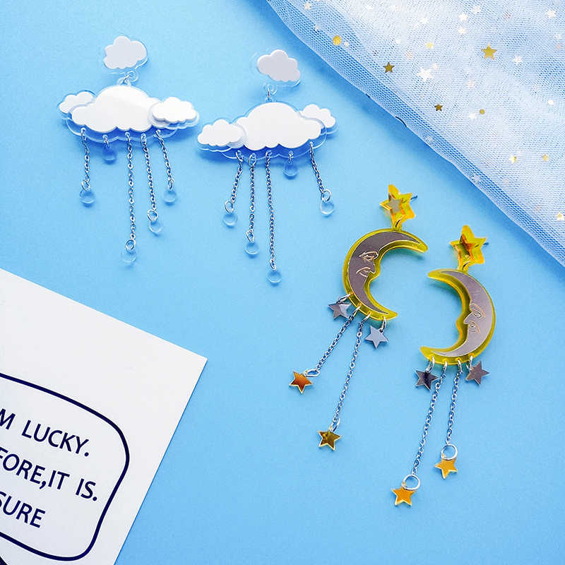 cloud moon sharp cute Harajuku korean design water drop long tassel dangle earrings for women