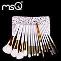 Msq moda pincel de maquillaje conjunto de alta calidad 15 unids fundación de polvo cosmético se ruboriza sombra de ojos cepillo de cejas herramientas de belleza bolsa de maquillaje