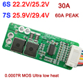 6 S 7 S 25.2 V 29.4 V 30A Li ion batterie Protection conseil 60A pic lipo BMS 18650 cellules mos pour lave auto perceuse électrique|Batterie Accessoires| |  -