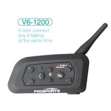 Fodsports V6 1200 м Bluetooth Домофон Мотоциклетный Шлем Гарнитуры Intercomunicador Moto 6 Всадники BT Домофон