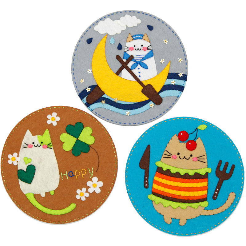 3Pcs/Lot DIY Cute Cat Style Felt Coaster Sewing Cup Pad Free Cutting Handmade DIY Material Package For Table Felt Mat Home Decor