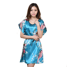 Printed Flower White Chinese Lady Silk Rayon Bath Robe Dress Sexy Mini Nightshirt Gown Summer Lounge Pijamas One Size S015-G