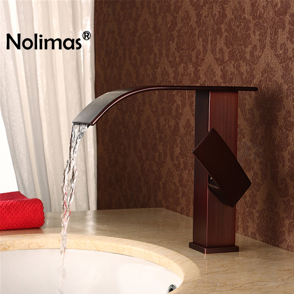 Brass Basin Faucets Waterfall Faucet Bathroom Tap Single Handle Basin Ceramic Plate Spool Hot And Cold Water Tap Sink Mixer hpb square brass basin faucet hot and cold water single hole handle sink bathroom faucets mixer tap grifos para lavabos hp3037