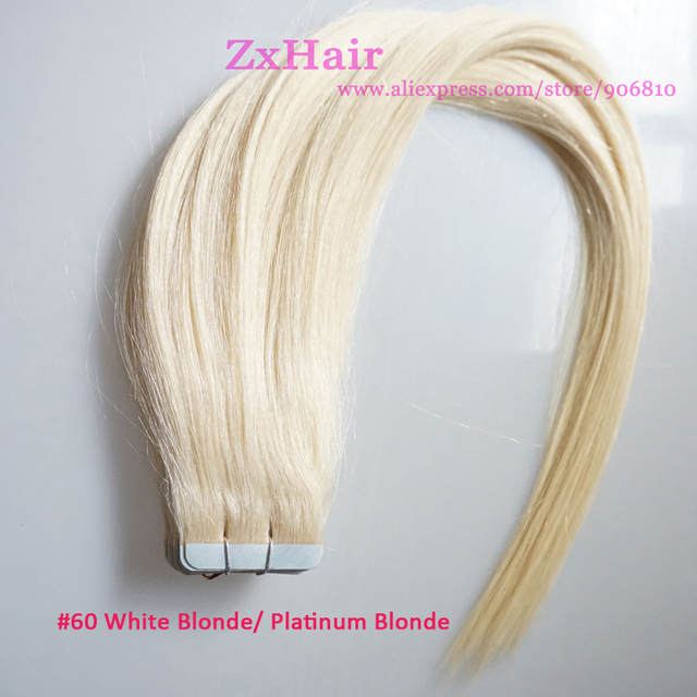 Tape Skin Weft Hair Extension Color60 Wight Blonde Platinum Blonde