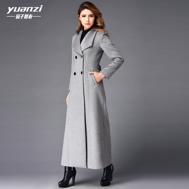4137c66769f New Winter Coat Women Cashmere Long Coat 2019 Fashion Wool Coat Temperament  Slim Double-breasted Large Sizes Trench Coat Female