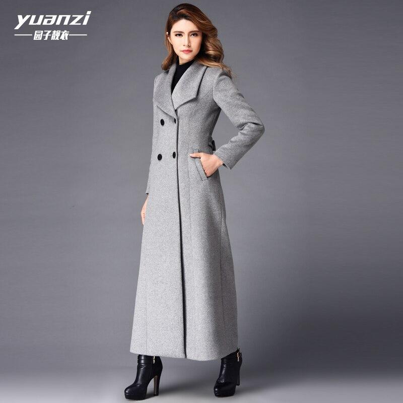 Nouveau manteau d'hiver femmes cachemire Long manteau 2019 mode laine manteau tempérament Slim double boutonnage grandes tailles Trench manteau femme