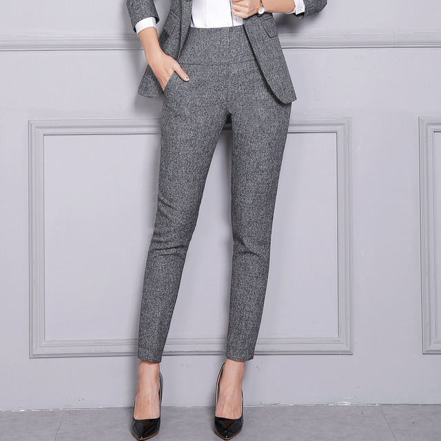 Pantalones Formales De Oficina Para Mujer Trabajo De Negocios Pantalones De Cintura Alta Negro Gris Otono Invierno 2019 Talla Grande 4xl Xxxl Xxl Xl L Pantalones Y Pantalones Capri Aliexpress