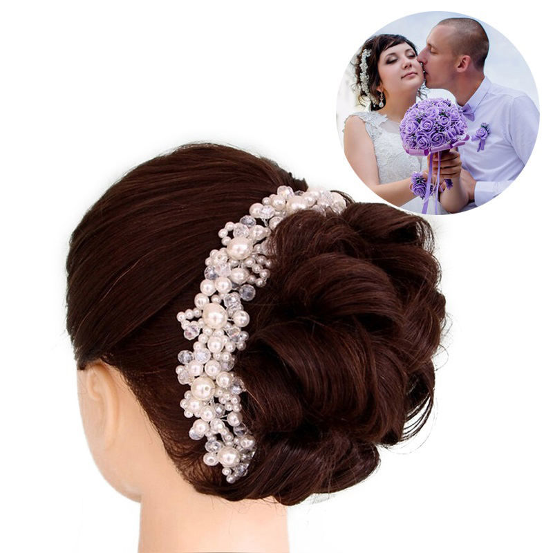 Үйлену шашы үшін Noiva Bride Кристалл Жемчуг қолғап қолғаптары Headbands Bridal Tiaras Crowns шаш бұрышы Headpiece Hair Jewelry