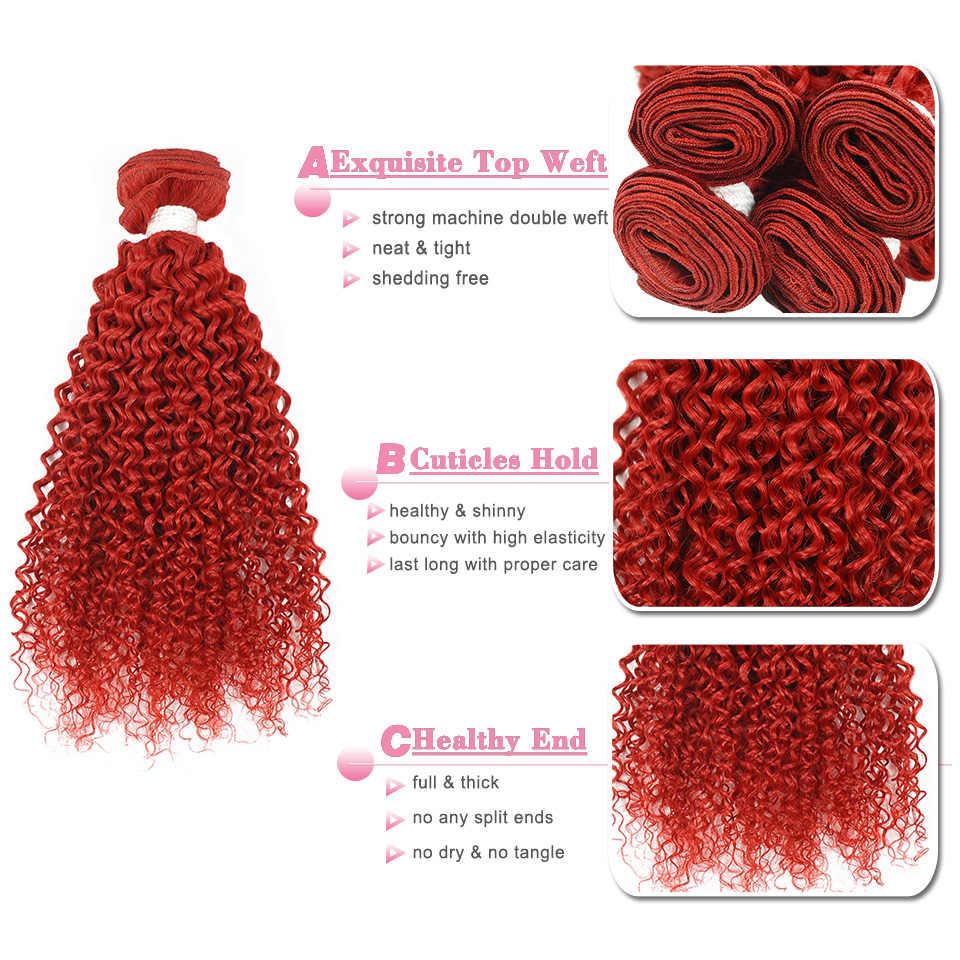 Mechones de cabello humano postizo peruano rizado rojo con cierre 4 mechones Borgoña con cierre extensión de cabello no Remy