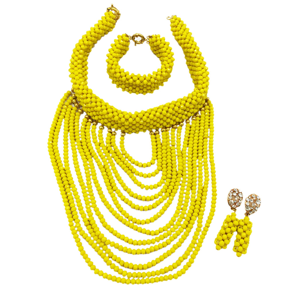 Opaque Yellow Nigerian Wedding Beads Sets Crystal Beaded African Necklace Earrings Bridal Party Jewelry Sets for Women DDK007