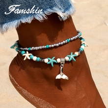 FAMSHIN Bohemian Mermaid Anklets For Women Vintage Multi Layer Bead Anklet Leg Bracelet Sandals Boho DIY Summer Charm Jewelry