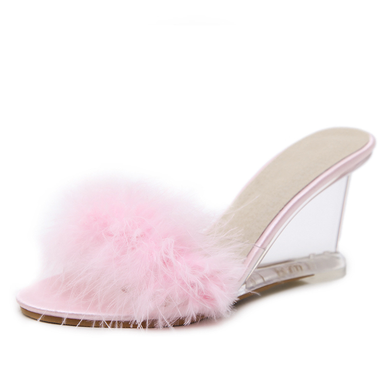 Adult Womens Ladies Summer Style Fashion Faux Fur Transparent Wedegs High Heels Slides Slippers Sandals China Shoes Woman F45