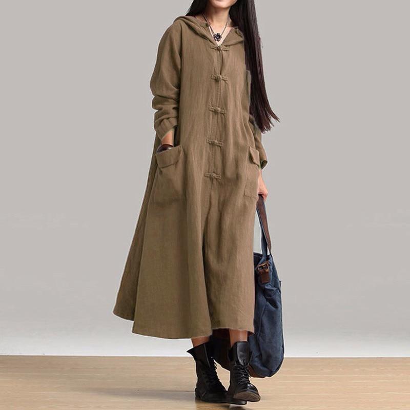 ZANZEA Női ruha 2018 Őszi Vintage alkalmi laza hosszú ruhák Női V nyakú hosszú ujjú kapucnis pamut Vestidos túlméretezett