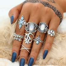Vintage Opal Stone Rings Set For Women – Moon Flower Midi Finger Ring – New Bohemian Jewelry Bijoux Gifts