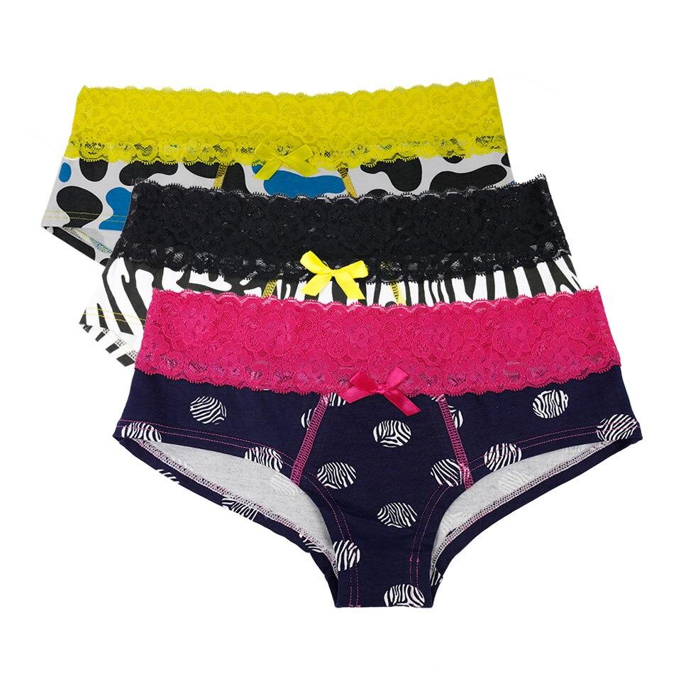 Women Sexy Panties Leopard Zebra Print 95% Cotton Breathable Underwear Lace Bow Low Rise Briefs High Quality Lingerie For Ladies zebra underwear