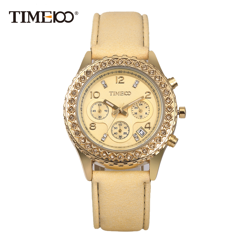 Time100 Fashion Casual Watches Women Quartz Watches Gold Leather Strap Waterproof Auto Date Ladies Wrist Watch Clock reloj mujer стоимость