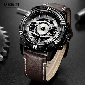 Image 4 - MEGIR Mens Chronograph Sport Quartz Watches Leather Strap Top Brand Luxury Army Wristwatch Relogios Masculino Clock 2118 Black