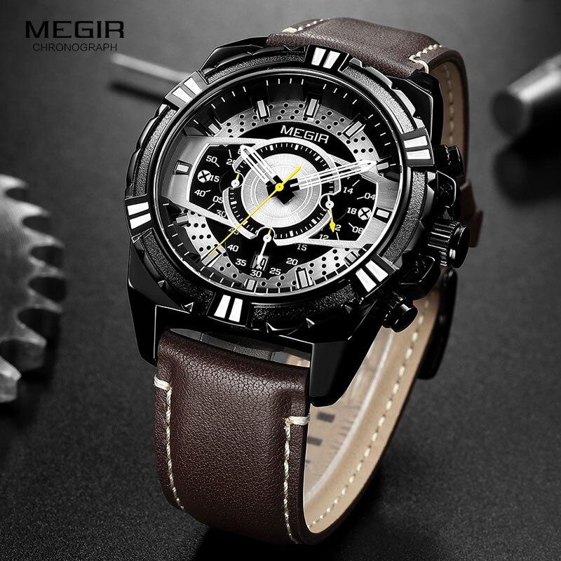Image 4 - MEGIR hommes chronographe Sport Quartz montres bracelet en cuir haut marque de luxe armée montre bracelet Relogios Masculino horloge 2118 noirMontres à quartz   -