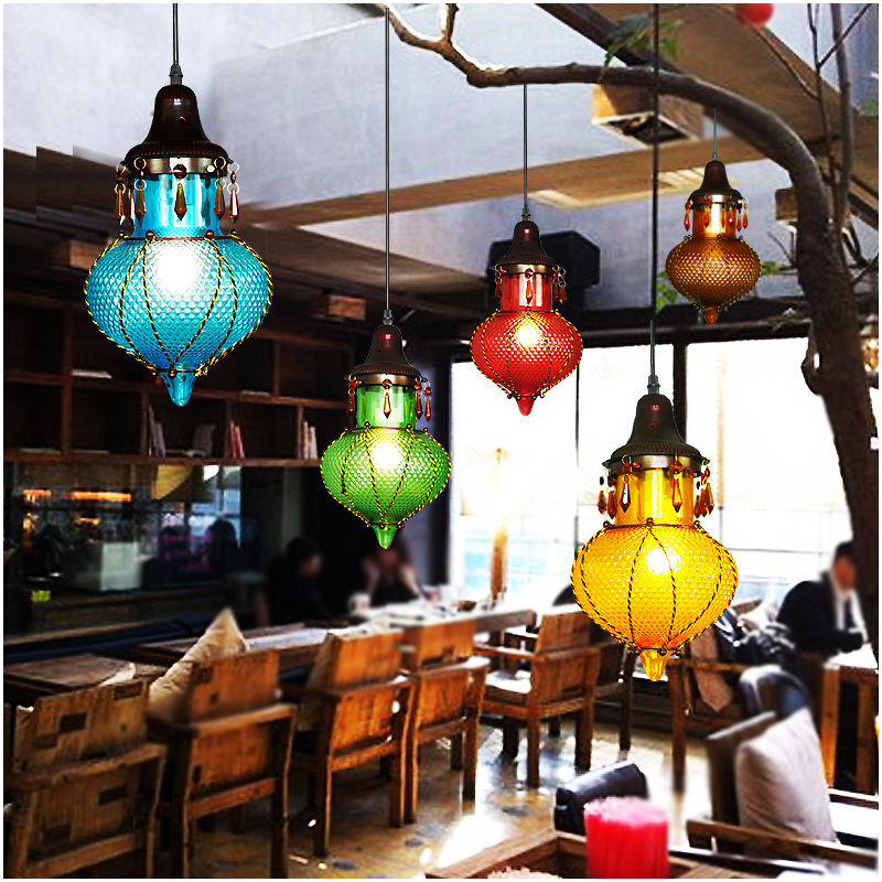 Tiffany colorful pendant lights Cafe holder restaurant corridor lamp southeast simple red/yellow/blue pendant lamps ZA DF72 tiffany restaurant pendant lamp in front of the hotel cafe bar small aisle entrance hall pendant light creative pendant lamps za