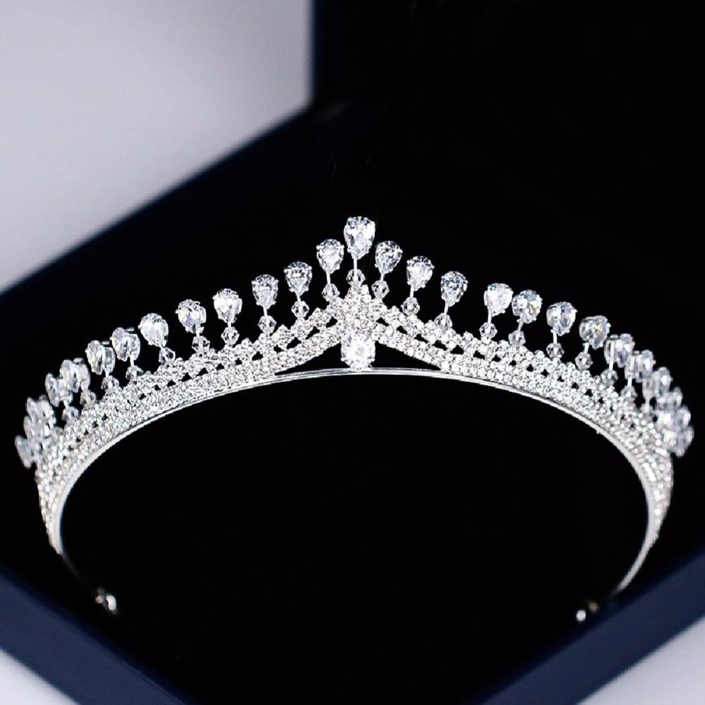 Simple European Wedding Bridal Cubic Zirconia Tiara Crown For Women Crystal Tiaras Bridal Crowns Diadem Bride Headdress