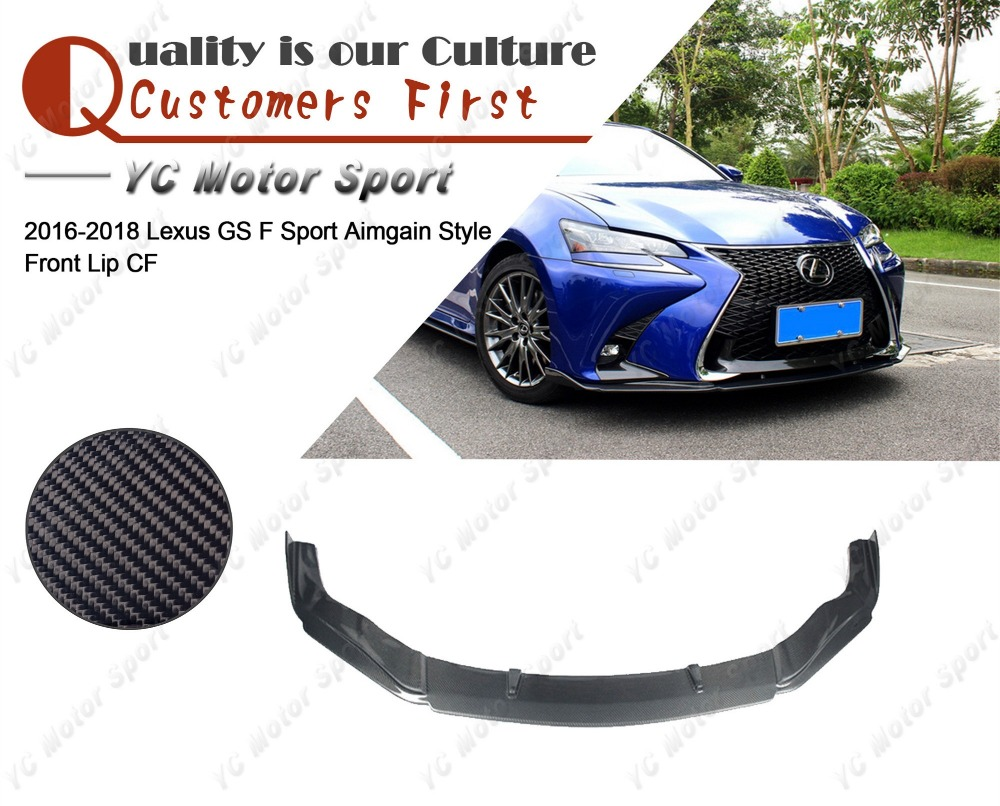 Car Accessories Carbon Fiber Aimgain Style Front Lip Fit For 2016-2018 Lexus GS F Sport Front Bumper Lower Splitter Lip