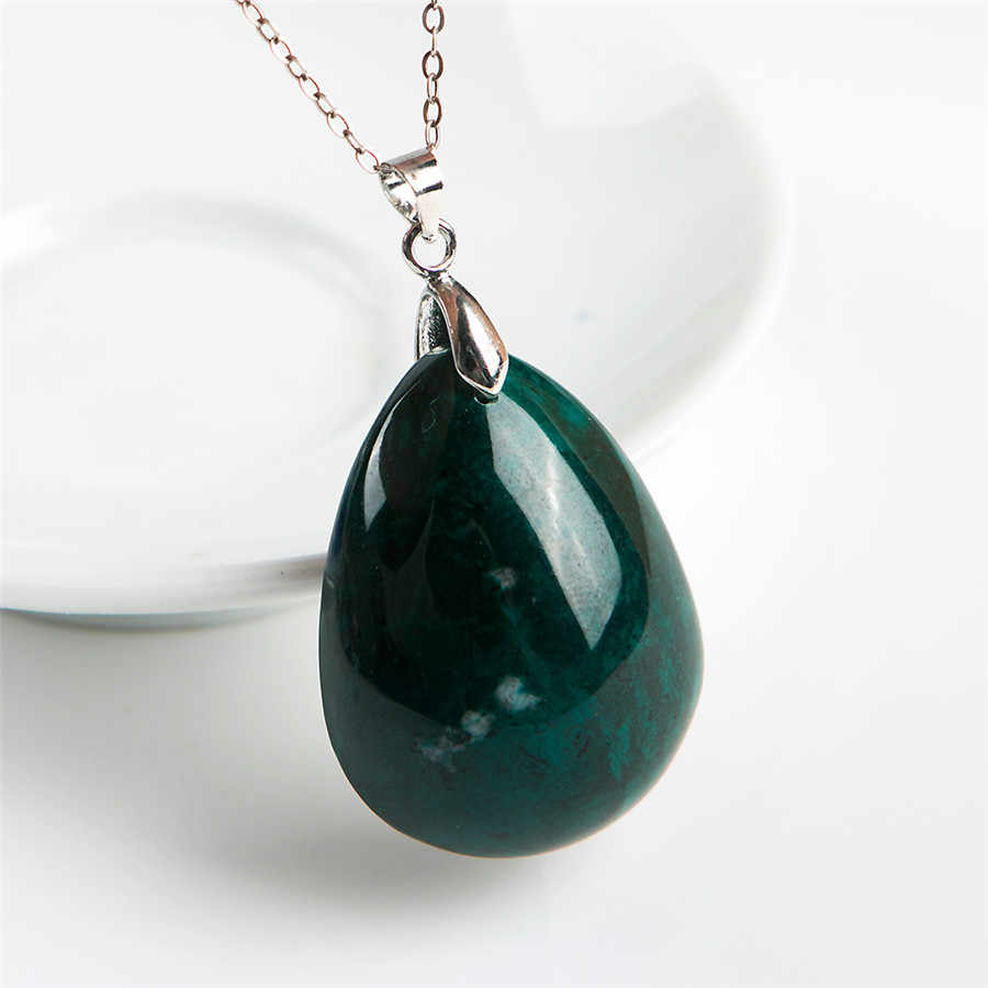 グリーン天然マラカイト珪孔雀石宝石の水滴ビーズネックレス天然石ペンダント35*27*15ミリメートル