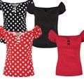 4 цветов лето женщины vintage 50 s лук милая декольте puff рукавом рокабилли pinup облегающий топ рубашки футболка плюс размер 4xl